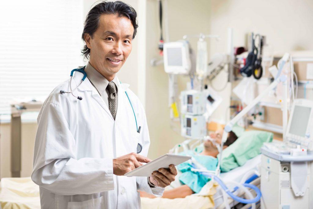 Ambulance USA Physician examinating the patients results